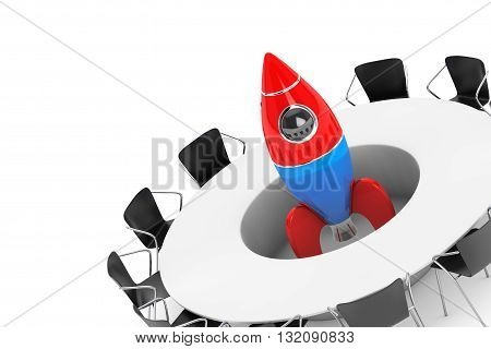 Chairs around a Table with Startup Rocket in the middle on a white background. 3d Rendering