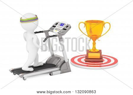 3D Person Running on a Treadmill to Large Golden Trophy in front on a white background. 3d Rendering