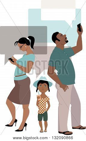 Family connection. Parents concentrate on their smartphones and ignoring a little kid, vector illustration