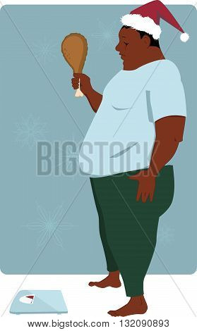 Overweight black man with a turkey drumstick in his hand and Santa hat on his head anxious to step on the scales, vector illustration, no transparencies, EPS 8