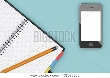 Office Table with Notepad Organiser and Mobile Phone view from above. 3d Rendering