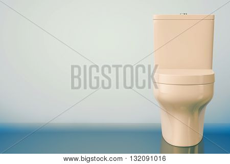 White Ceramic Toilet Bowl on a blue background. 3d Rendering