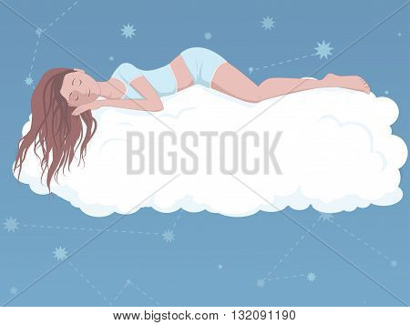 Woman sleeping on a cloud, EPS8 vector illustration