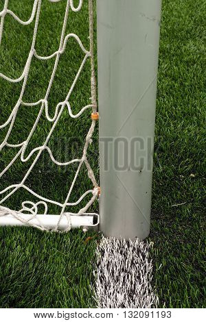 Hang Bended Soccer Nets, Soccer Football Net. Grass On Football Playground