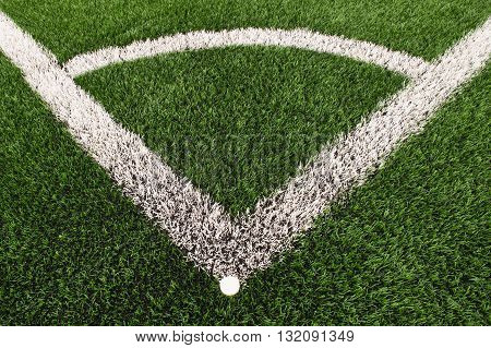 Football Playground Corner On Artificial Green Turf Ground With Painted White Line Marks. Milled Bla