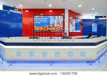 DUBAI, UAE - APRIL 08, 2016: inside of Dubai International Airport. Dubai International Airport is the primary airport serving Dubai, United Arab Emirates