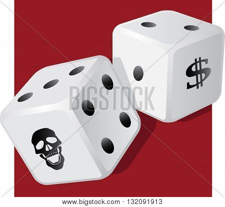 A pair of dice with a skull, EPS8 vector illustration