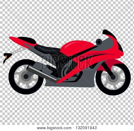 Cool motorcycle isolated on white background. Vehicle on two wheels, biker chopper. Transport modern motorbike with power engine. Classic red bike for riding in a flat style. Vector illustration