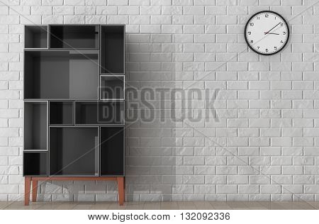 Modern Abstract Shelf in front of Brick Wall. 3d Rendering