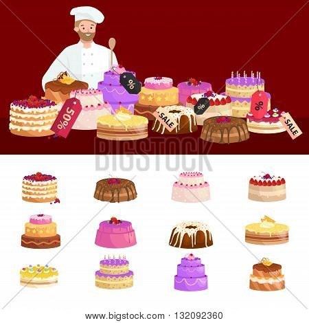 confectionery shop Sale. Set of sweets, cakes. desserts with prices. vector illustration