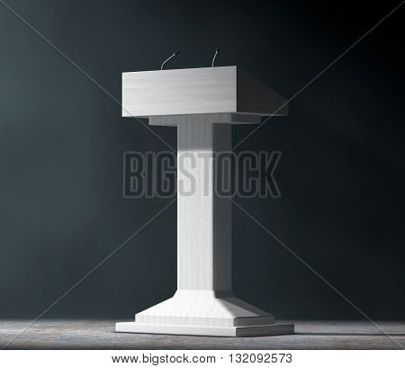 White Podium Tribune Rostrum Stand with Microphones in the volumetric light on a black background. 3d Rendering