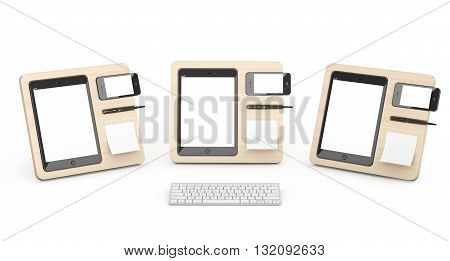 Wooden Mobile Devices Organisers on a white background. 3d Rendering
