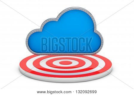 Blue Cloud over Target Point on a white background. 3d Rendering