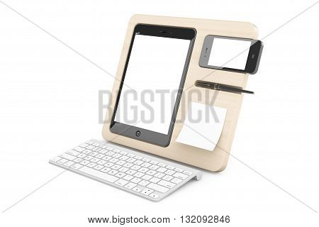 Wooden Mobile Devices Organiser on a white background. 3d Rendering