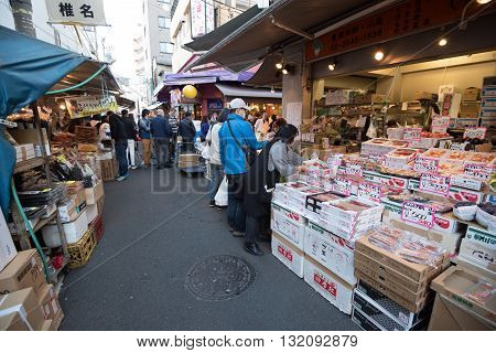 Tokyo Tsukiji Japan -November 21 2015 - Tsukiji Outer Market in Tokyo Japan.Tsukiji Outer Market is a part of Tsukiji Market which is the biggest wholesale fish market in the world.