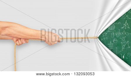 hand pulling rope and drawing business concept