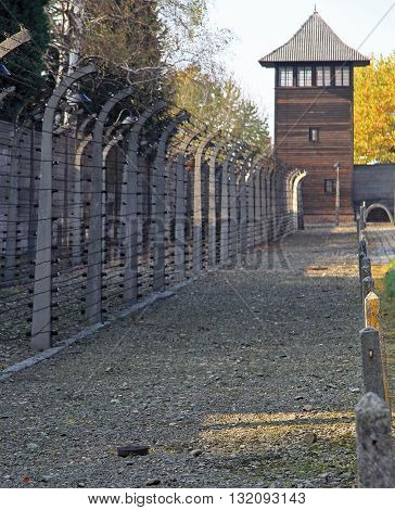 Fence Of Barbwire In Concentration Camp Auschwitz I