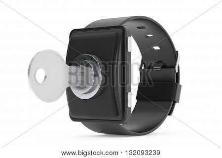 Security Concept. Smartwatch with Key on a white background. 3d Rendering