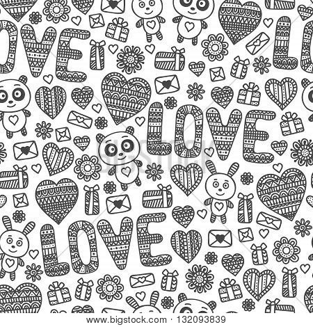 Seamless love pattern. Doodle elements - heart panda rabbit letter flower present box. Valentine's day background.