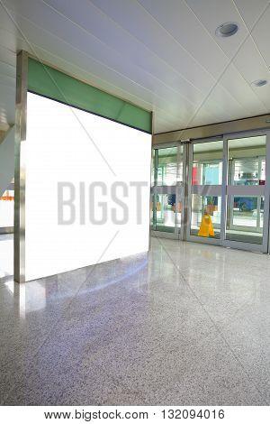 Airport exit door glass wall corridor wall lightboxes