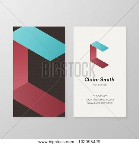 Business card isometric logo letter C vector template. Vector business card personal logo letter C sign graphic design. Business card personal logo design. Business card letter C design.
