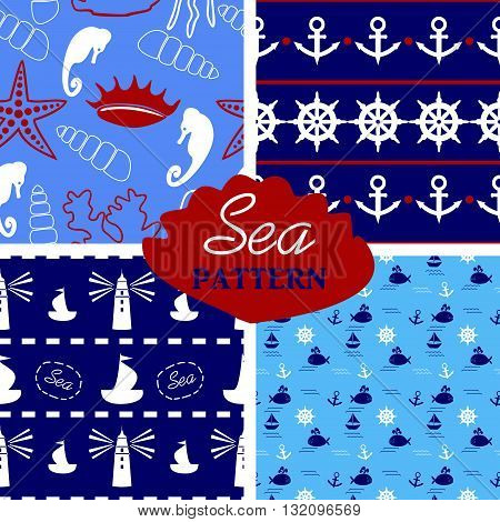 four seamless marine pattern in white, blue, red colors