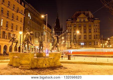 blurred movement on the night street tram in Prague