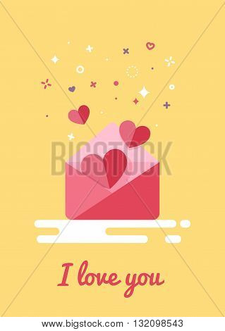 Letters with hearts in flat style design. Inscription I love you. Modern style stars and circles.