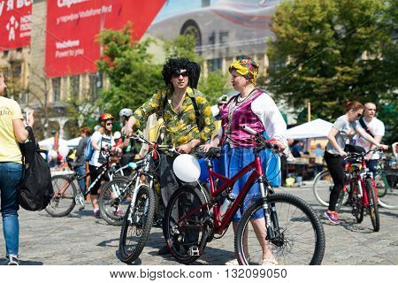 Kharkiv, Ukraine - May 29, 2016: annual city festival bike ride in funny fancy dress through the streets of Kharkov