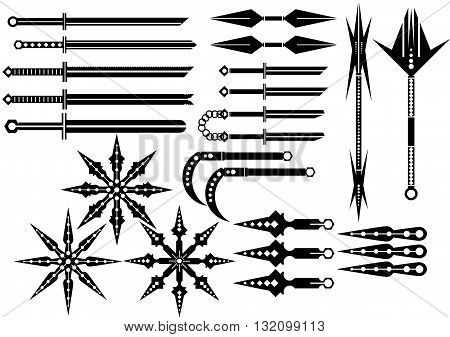 Set silhouettes bladed weapons of ninja. vector illustration