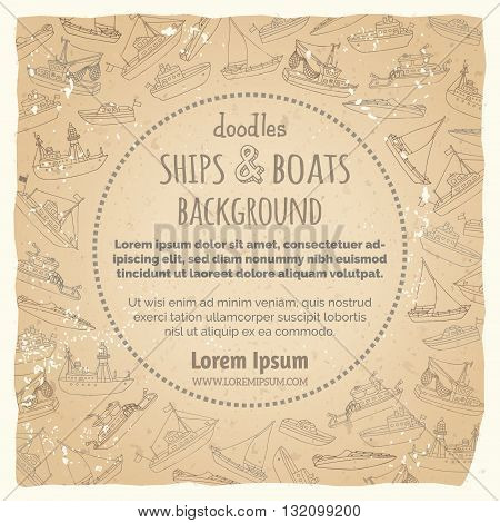 Vector Vintage Marine Vessels Background.