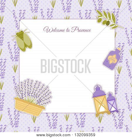 Set of vector design elements symbol of Provence France. Lavender lavender cicadas olive oil lantern. It can be used for travel cards invitations posters with space for your text
