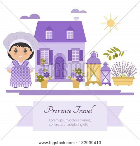 Set vector symbol design element Provence France. Lavender Lavender oil cicada olive oil lantern. It can be used for travel cards invitations posters and other printed materials.