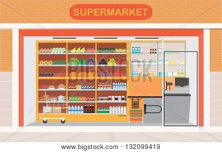 Supermarket building and interior with fresh food on shelves and counter cashier Flat vector illustration.