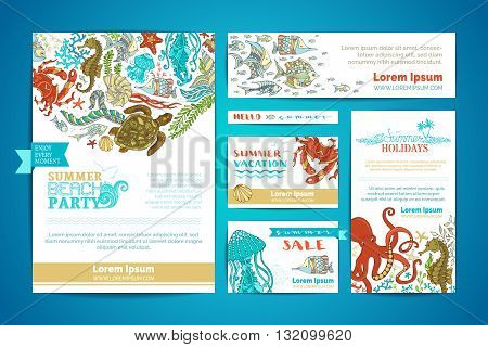 Corporate Underwater Sea Life Templates Set.