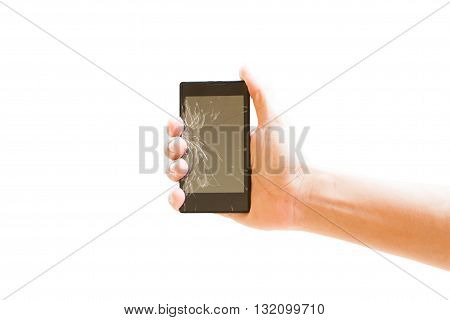 hand holding a smartphone with cracked screen isolated on white background ( clipping path )