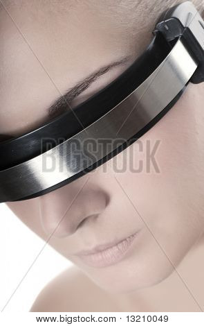 Beautiful cyber woman's face isolated on white background