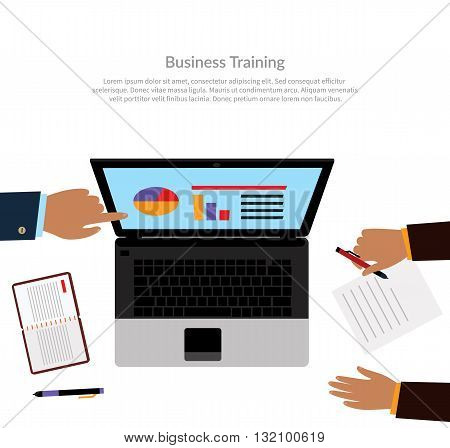 Workspace training design flat. Business training course learning and train, education business office technology and management. Business coach analyzes business performance on laptop monitor