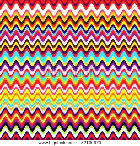Seamless background with bright waves funky decorative