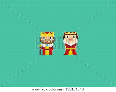 Pixel art king and queen characters isolated on green background