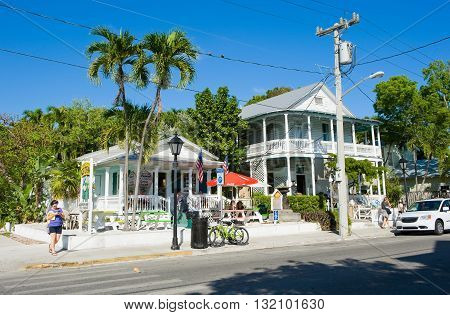 KEY WEST FLORIDA USA - MAY 01 2016: Typical Florida houses in Duval street in the center of Key West