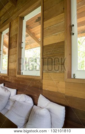 Wooden interior living room with window stock photo