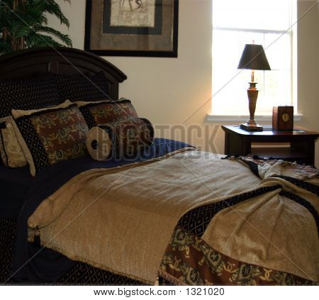 navy blue and gold bedroom stock photo stock images bigstock