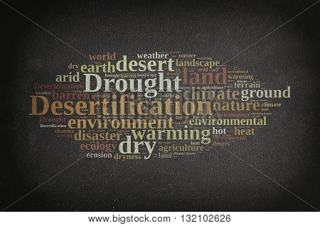 Blackboard with word cloud about desertification. 3D rendering.