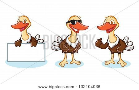 Ostrich Mascot Vector happy pose and bring board