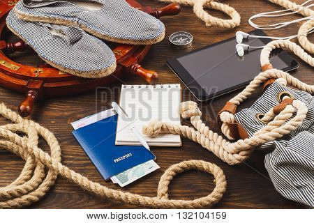 Vacation's Items On The Wooden Background