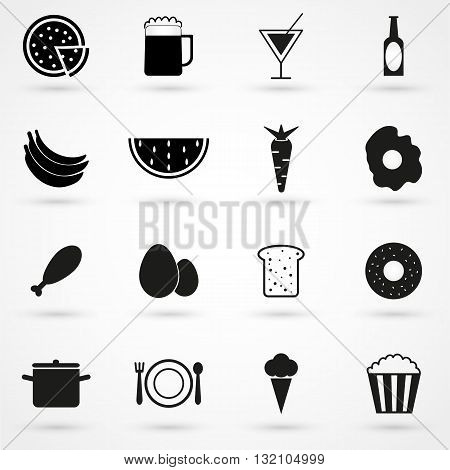 Food Icons Set Vector Black On White Background