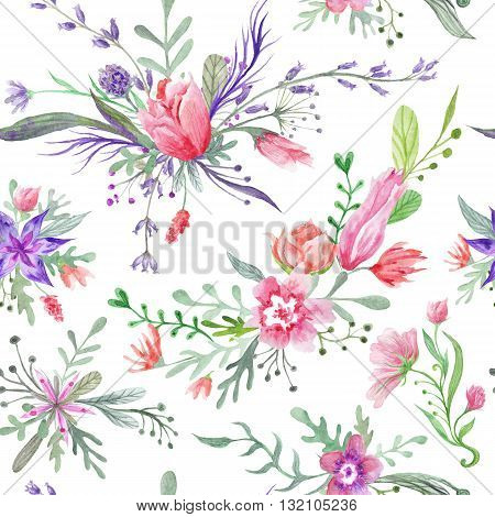 Seamless romantic country provence texture with wild flowers and herbs on white background