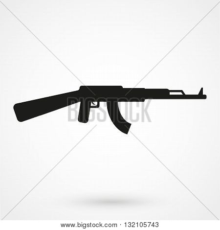 Machine Gun Icon Vector Black On White Background