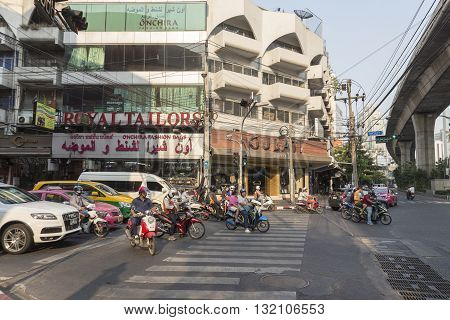 BANGKOK THAILAND - APR 29 : cars stop and waiting for signal light at Sukhumwit soi 3 road in Nana on april 29 2016 thailand. Nana area is one of tourist hub in Bangkok